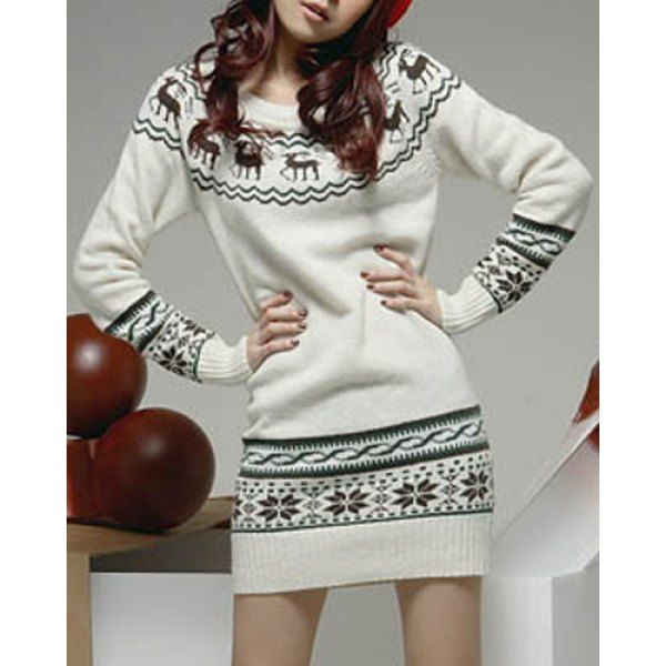 $12.54 Fashionable Snowflake and Elk Printed Ugly Christmas Sweater Dress For Women