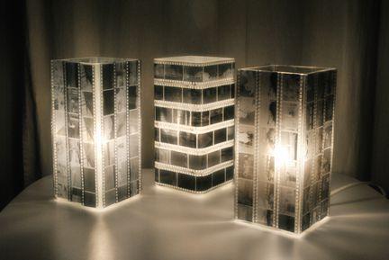 Recycling von Negativ-Filmstreifen auf Lampe