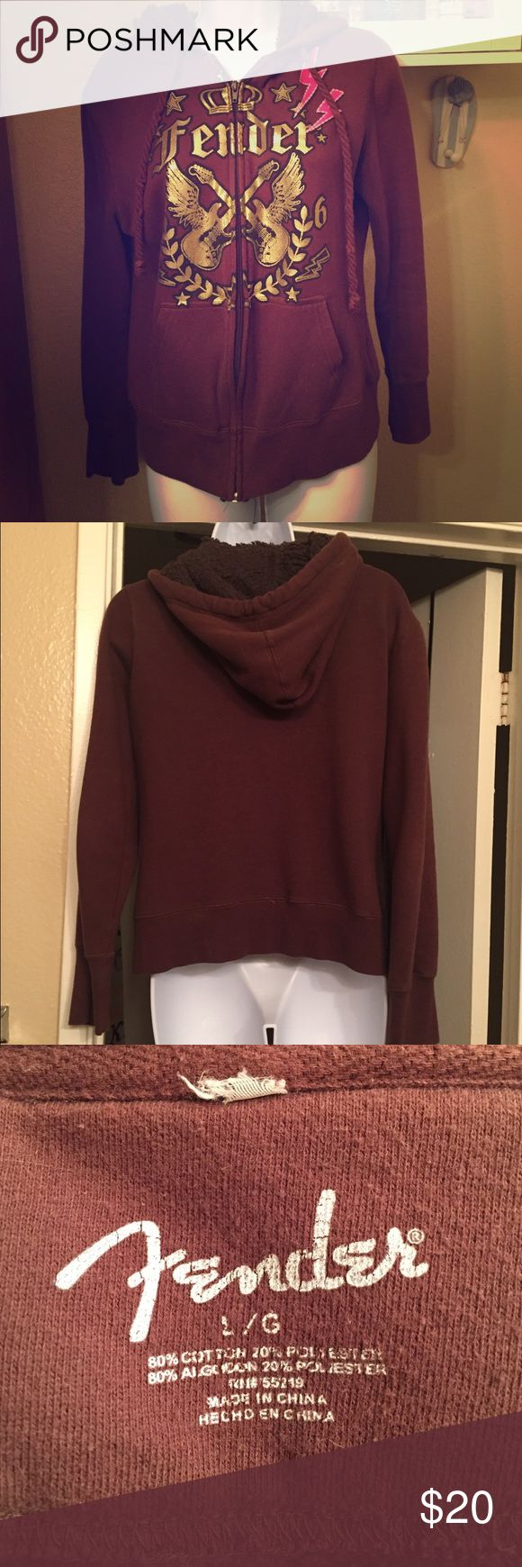 """⚡️🎸FENDER ⚡️🎸 Ladies hoodie 💙💁🏻 Ladies brown zip up hoodie with Fender guitar silk-screen design, from Kohls. Worn a few times, fully cleaned, """"like-new"""" condition. Tag cut from neck line because it was itchy & at the time I wasn't planning to sell! Misses size """"L"""" but runs more like a medium. Super comfy & warm 😍 Tops Sweatshirts & Hoodies"""