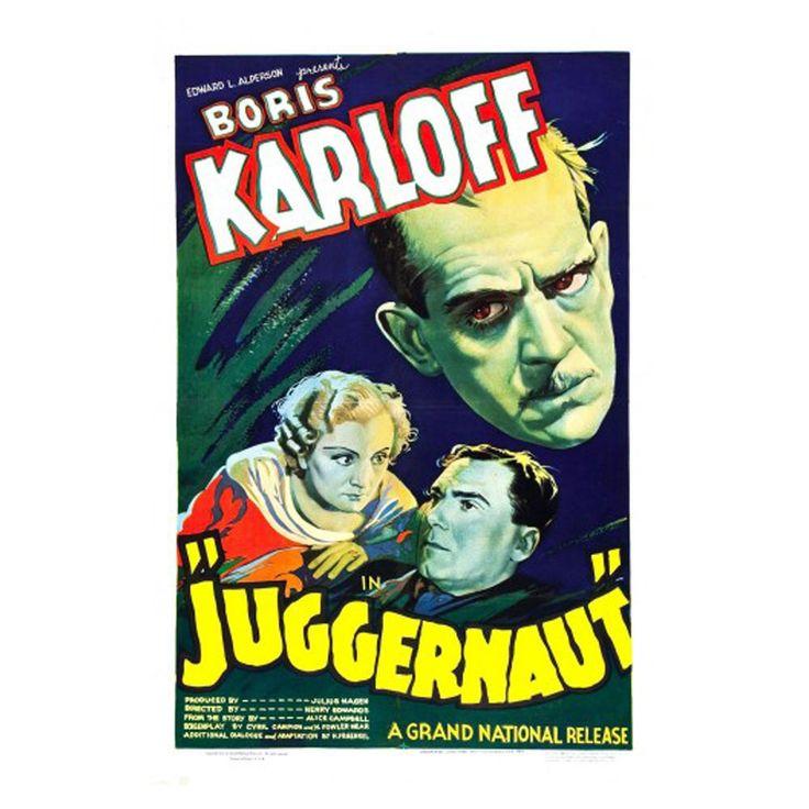 Juggernaut Movie Poster - Boris Karloff Vintage Classic Horror Film Print Size 18 x 24 inch by graficaitalia on Etsy