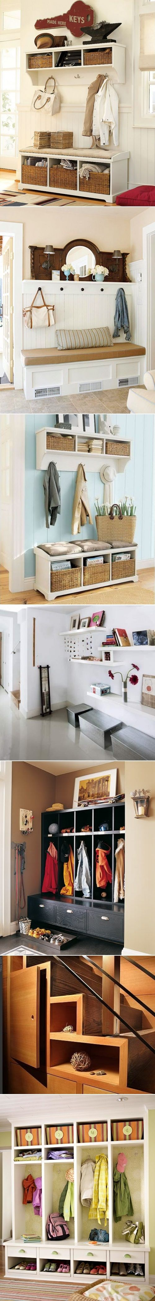 DIY Mudroom And Hallway Storage Ideas - when we get our own place I'm so doing this in the hall way. LOVE the middle one