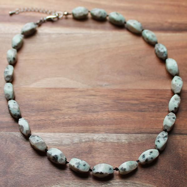 47cm Green Lotus Jasper Natural Faceted Oval Bead Stone Short Necklace