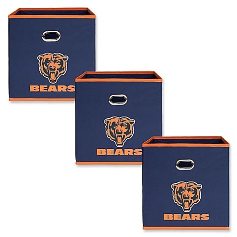 The NFL Chicago Bears Storage Bin lets you show off your favorite team, and store your personal items. It features the team graphics and colors and is perfect for a game room, den, or dorm. This 3-pack can easily be stacked on top of each other.