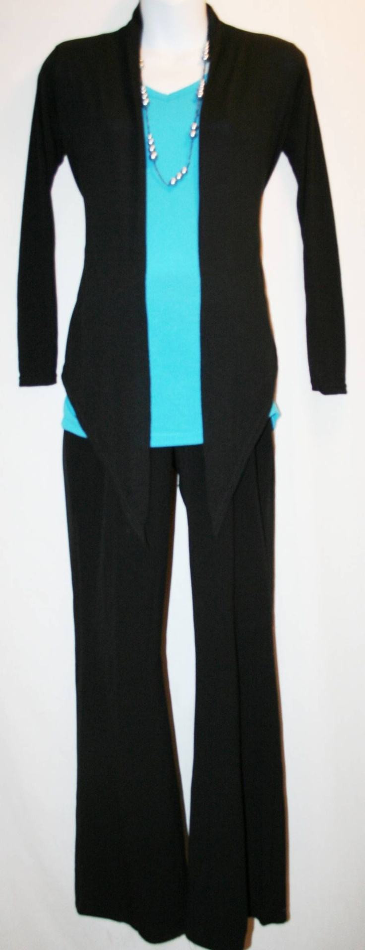 bilder om dress for success women p aring  black flowing pants cardigan bright blue tee