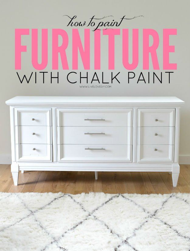 DIY Chalk Paint White Dresser Ideas | https://diyprojects.com/20-awesome-chalk-paint-furniture-ideas/