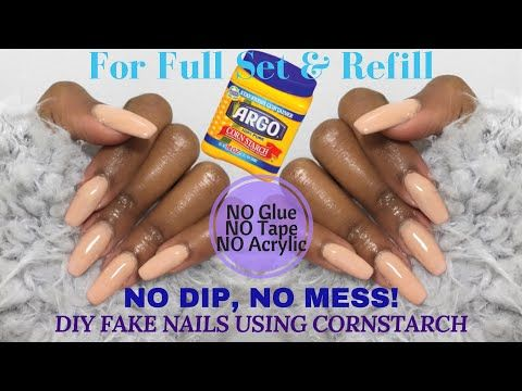 DIY: CORNSTARCH Fake Nails – NO Dip, NO Mess! | UPDATED METHOD | Nia Hope – YouT…
