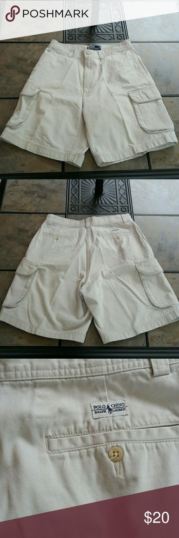 "Ralph Lauren Polo Cargo Chino Short  33W 100% Cotton,  8"" inseam, cargo pockets Polo by Ralph Lauren Shorts Cargo"