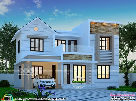 1644 Square Feet 4 Bedroom Modern House Plan In 2020 Kerala House Design Bedroom House Plans Duplex House Design