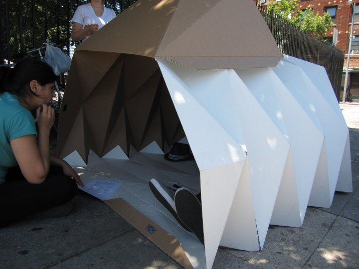 Cardborigami - sustainable temporary housing in cardboard structures folded with strong origami techniques that also allow the structure to be collapsed for relocation. Brilliant