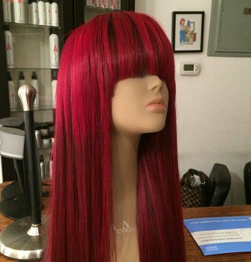 red human hair full lace wig with bangs