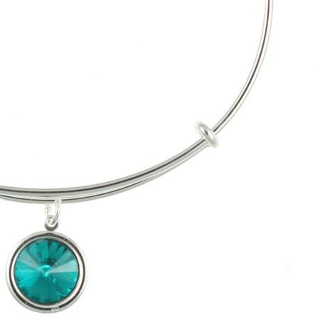 Alex and Ani Crystal Birthstone Expandable Wire Bangle December - Blue Zircon - Shiny Silver