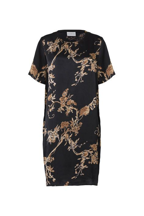 Ganni. Gold St. Satin Dress, Golden Leaves