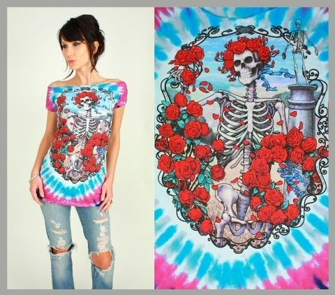 GRATEFUL DEAD Bertha Roses Tie Dye DiY TUNIC by hellhoundvintage