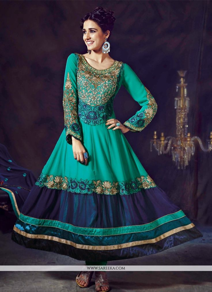Awesome Blue Embroidery Work Faux Georgette Anarkali Suit