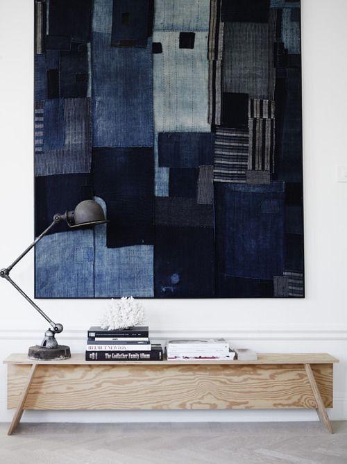 Patchwork denim wall hanging