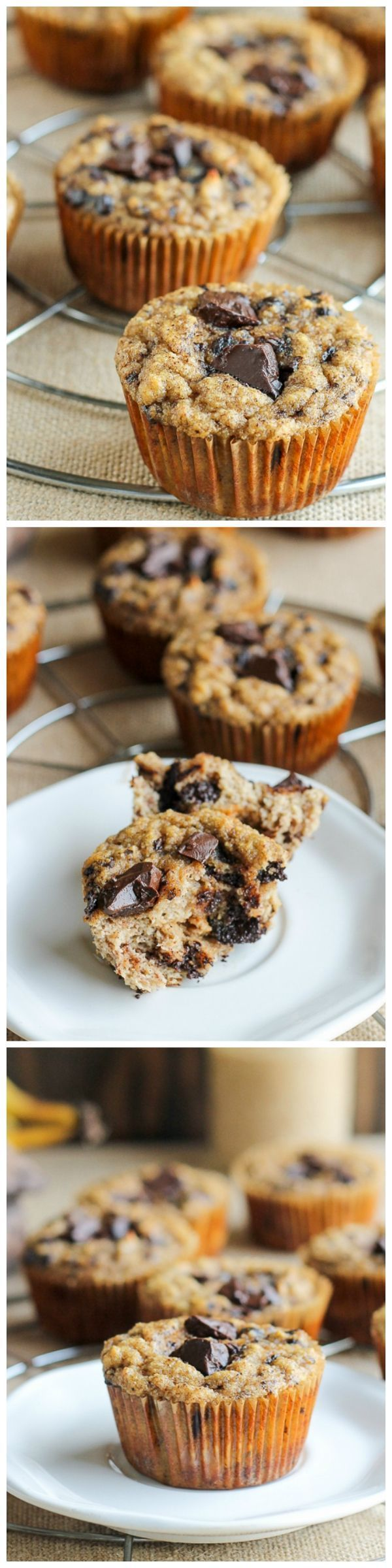 These Paleo Almond Butter Chocolate Chip Banana Muffins taste just like your mom's banana muffins. They're sweetened with only bananas!