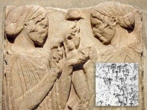 Demeter giving a mushroom to Persephone, Temple of Eleusis and mushroom images from Stonehenge