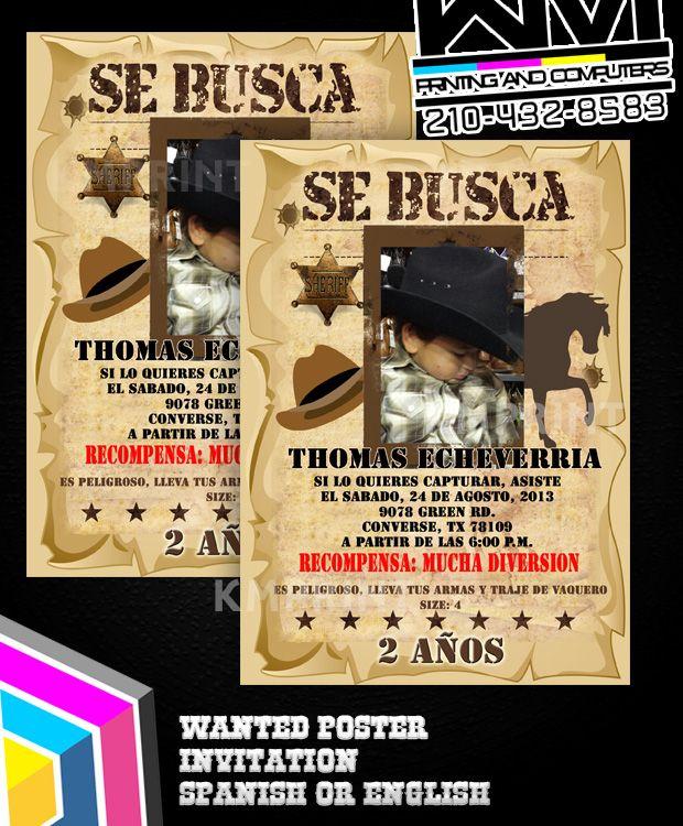 Wanted Poster Invitation SE BUSCA invitaciones vaqueras