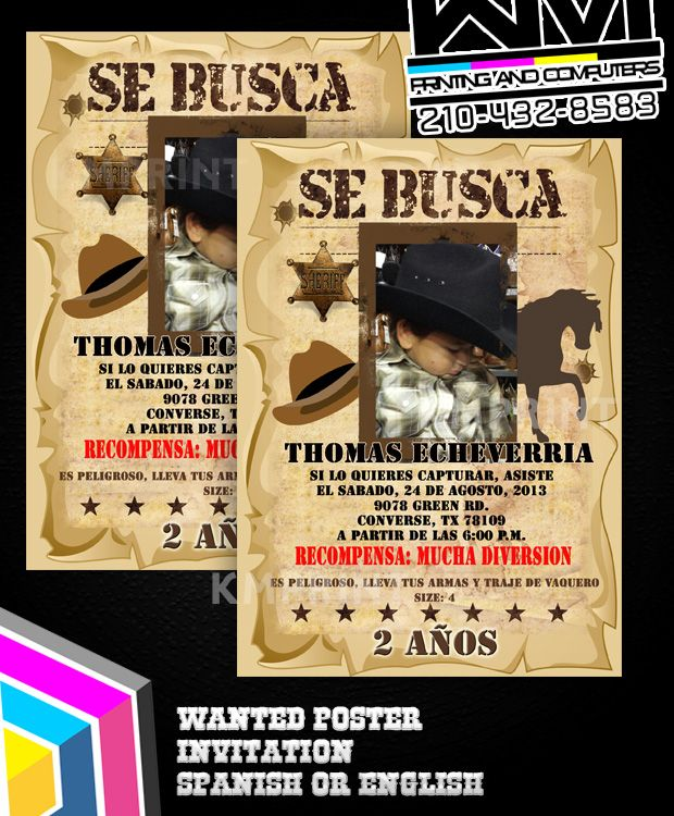 Wanted Poster Invitation Se Busca Invitaciones Vaqueras