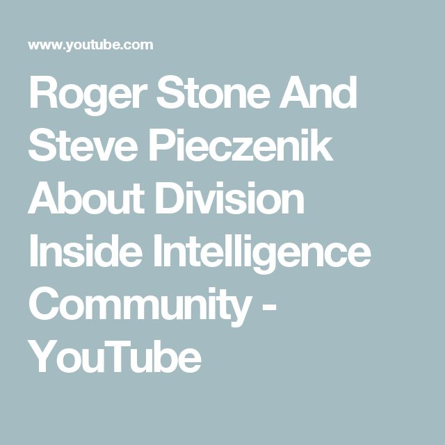 Roger Stone And Steve Pieczenik About Division Inside Intelligence Community - YouTube