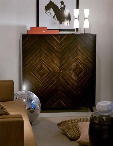 2 door high cabinet in macassar ebony wood (Usona)