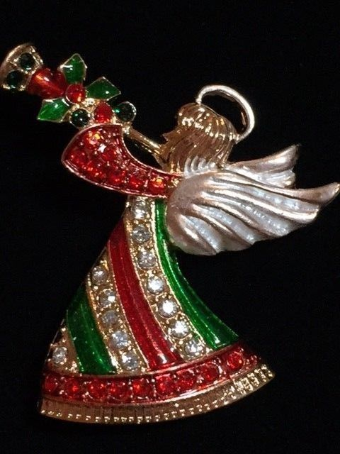 "RED GREEN GOLD RHINESTONE PLAYING THE HORN FLUTE FLYING HALO ANGEL BROOCH 1.75"" #Unbranded"