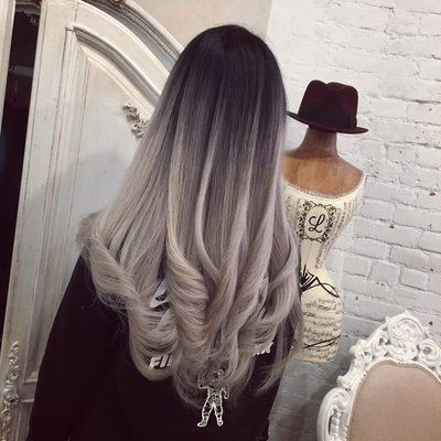 balayage from black to gray