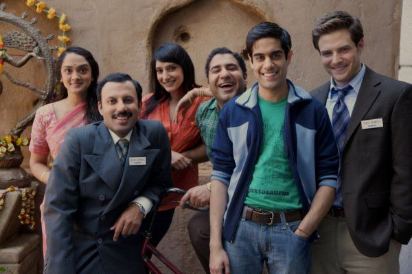 Still of Sacha Dhawan, Rizwan Manji, Parvesh Cheena, Anisha Nagarajan and Ben Rappaport in Outsourced