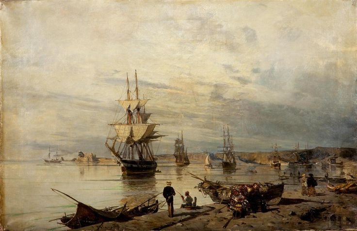 Bay with boats - Konstantinos Volanakis - WikiArt.org