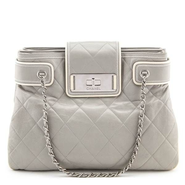 Chanel Gray Quilted Lambskin Mademoiselle Accordion Tote