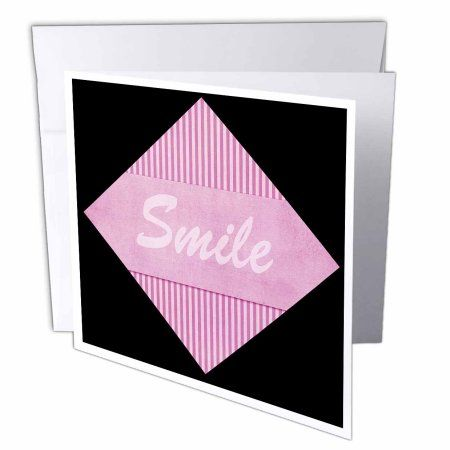3dRose Cute Large Striped Pink Triangle Says Smile, Greeting Cards, 6 x 6 inches, set of 6
