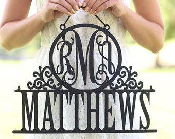 Personnalisé de mariée signe avec prénom et Date par braggingbags