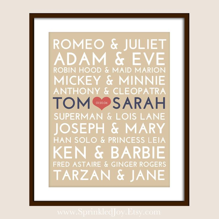 Famous Couples Subway Print - 8x10 Fully Customizable - Unique Wedding, Valentines or Anniversary. $13.95, via Etsy.