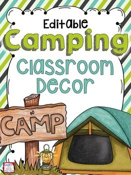 This editable camping classroom theme bundle includes everything that you need to decorate and organize your classroom! Included:Desk Name Tags (8 options)Student Bider and Folder CoversClassroom Rules (includes Whole Brain Teaching rules)*Behavior Clip Chart*64 Small Supply and Math Manipulative Labels (and 8 blank labels)*7 Large Supply Labels (and 1 blank label)*Table LabelsMonths of the Year (for calendar, monthly centers or a birthday display)*Days of the Week*Numbers (for calendar or…