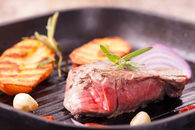 So you have a craving for a nicely seared steak but no access to a grill? Simply sear on the stove with cast iron, carbon steel, or stainless steel skillet.