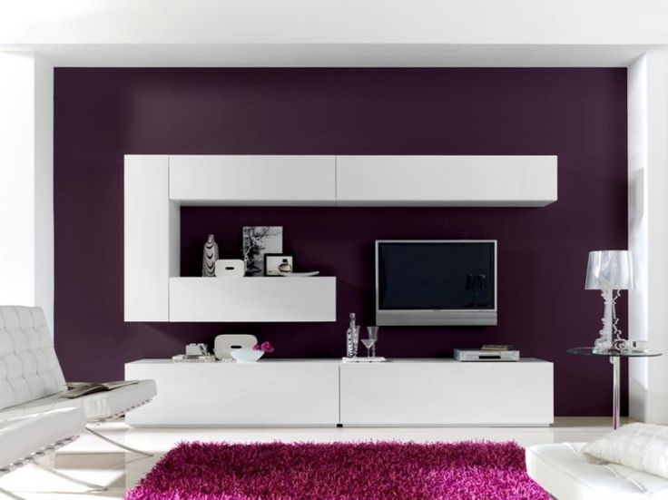 Contemporary Storage System With a TV Unit in White or Black High Gloss