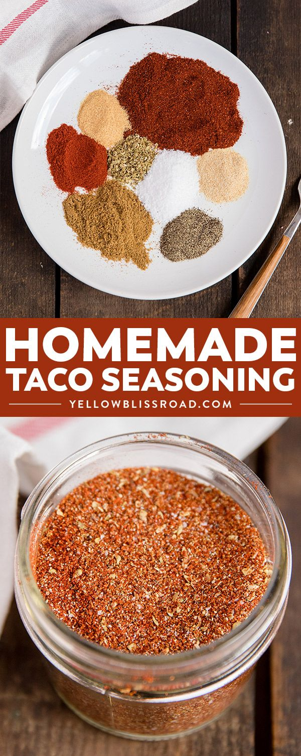 This homemade taco seasoning is super simple and easy. Whip up a batch and store it in your pantry for quick access when cooking tacos, burritos, nachos and more! #cincodemayo #tacos #yellowblissroad