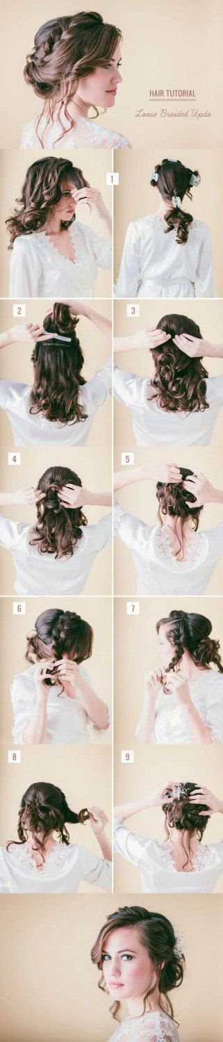 Loose Braided Hair Tutorial | Step By Step Hair Updo by Makeup Tutorials at http://makeuptutorials.com/14-stunning-easy-diy-hairstyles-long-hair-hairstyle-tutorials/