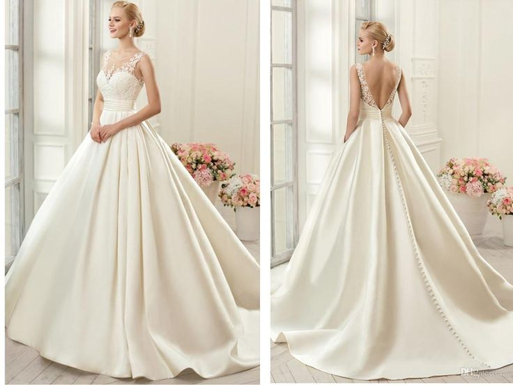 2016 Cap Sleeve Sheer Neck Sexy Wedding Dresses Backless Bridal Gown A Line  Satin Wedding Gown