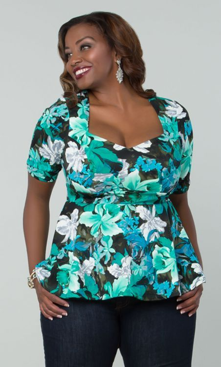 February 25th Launch:Ponte Peplum Top In Blue Floral by Kiyonna ,Available in sizes 0-5