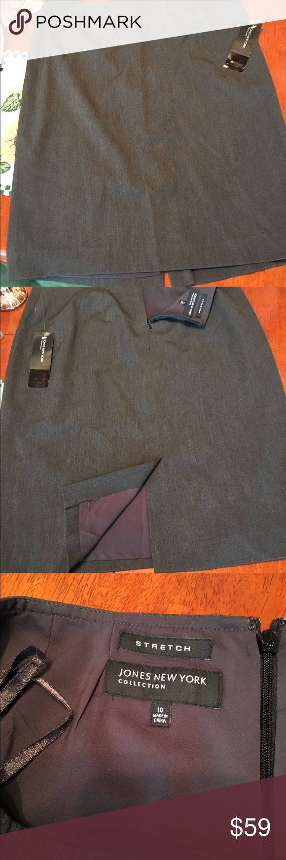 NEW!! Jones NY Collection Stretch Charcoal Skirt NWT Charcoal Grey lined skirt with back zipper and back slit. Skirt is polyester, rayon & spandex. Lining is 100% polyester. DRY CLEAN ONLY. Perfect for the office. Jones New York Skirts Pencil