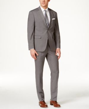 Perry Ellis Portfolio Men's Grey Pinstripe Slim-Fit Suit - Gray 38R