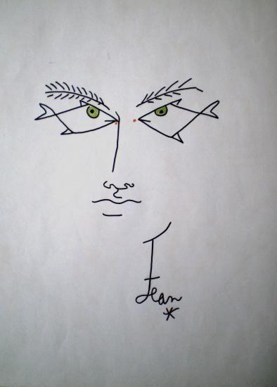 visage aux yeux de poisson Jean Cocteau