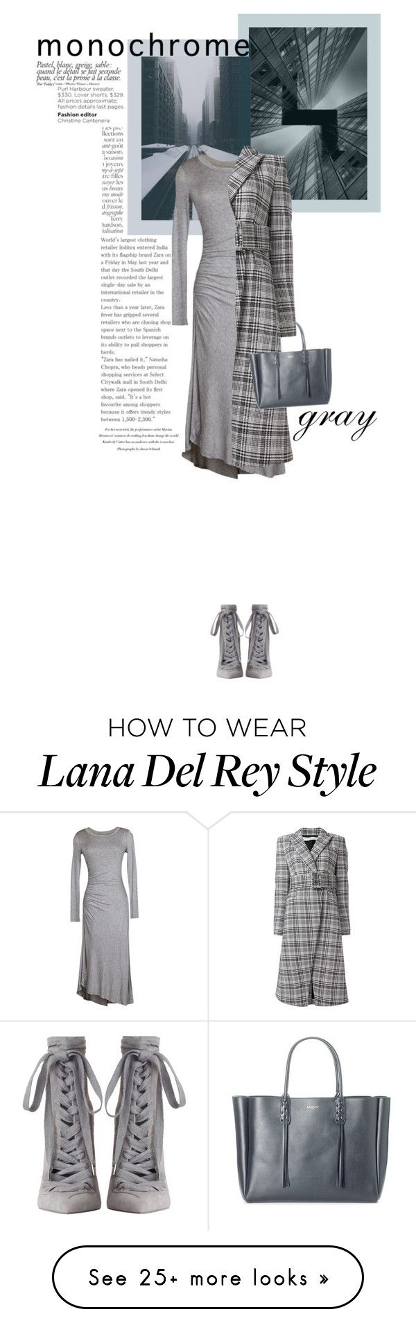 """""""Monochrome Gray"""" by paperdollsq on Polyvore featuring Velvet by Graham & Spencer, Zimmermann, Off-White, Lanvin and By Terry"""