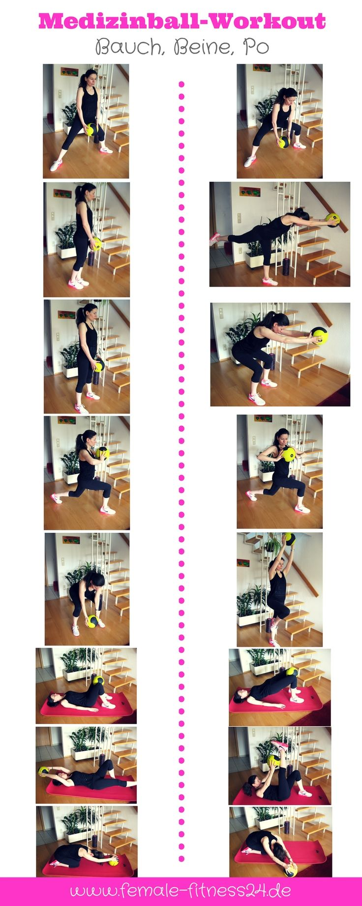 Workout | Übungen für Frauen mit einem Medizinball bzw. Pilates-Ball - ideal für das Training zu Hause aber auch im Fitness-Studio - für Bauch, Beine, Po