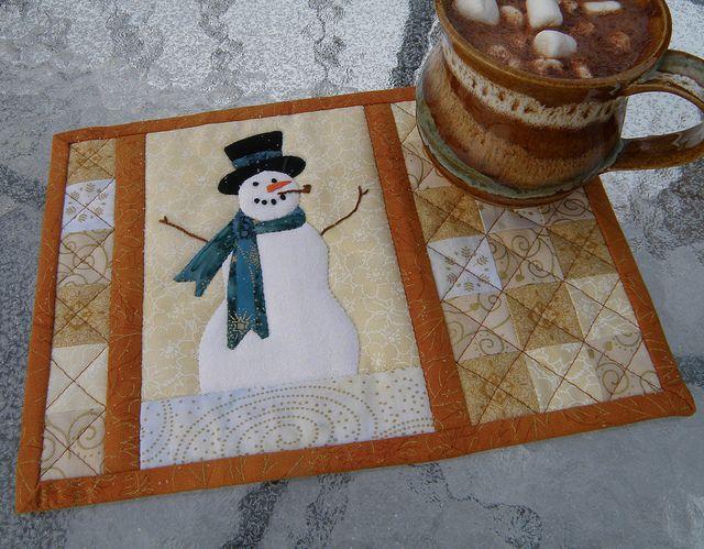 cute mug rug...of course I'm partial to snowmen :)