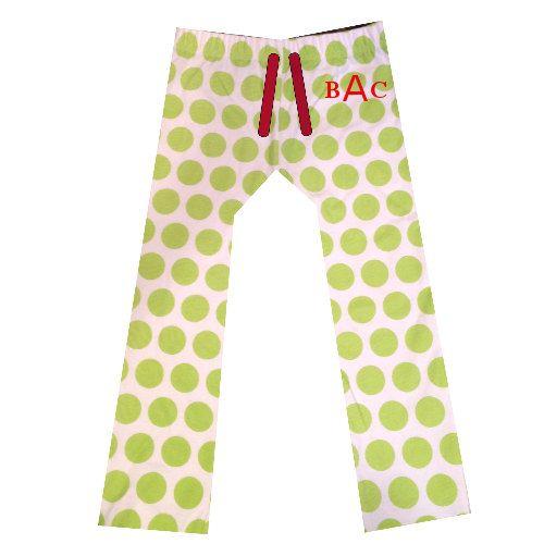 ADULT Christmas Pajama Pant Monogrammed LIME DOT  by KensiLane, $18.00