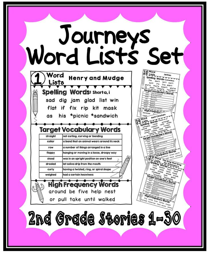 Classroom Ideas Second Grade ~ Journeys second grade word lists for stories the