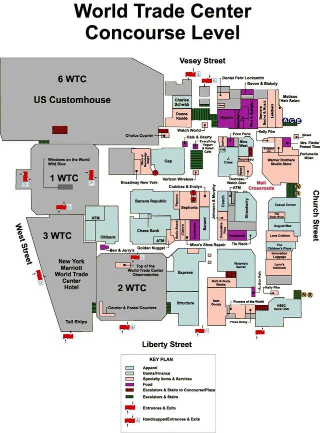 World Trade Center, 1970-2001: World Trade Center Concourse Map