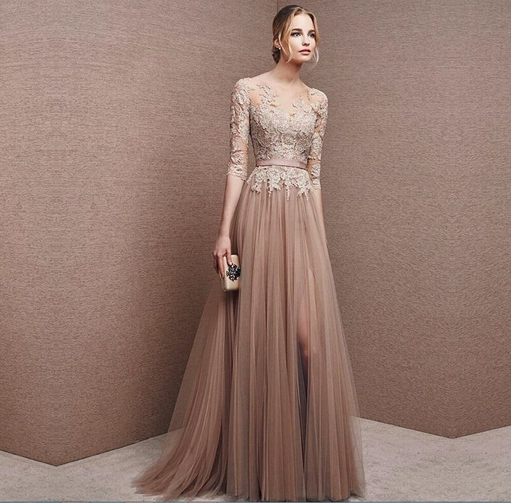Brown Tulle Bridesmaid Dress Lace 3 4 Sleeve Gown Foraml Evening Mother Of The